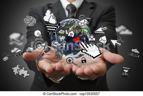 business man hands show internet concept - csp10530557
