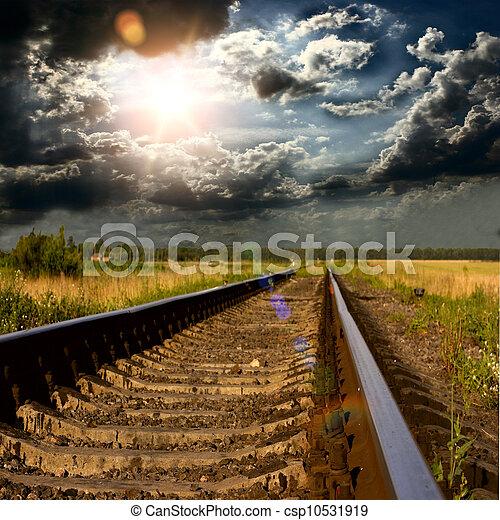 railway into the sunset  - csp10531919