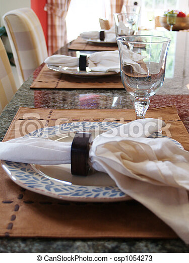 Stock Photos of Place Setting - Three place settings on a marble countertop