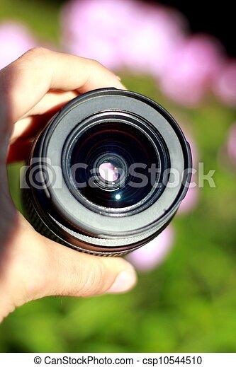 human hand holding a plain photo lens