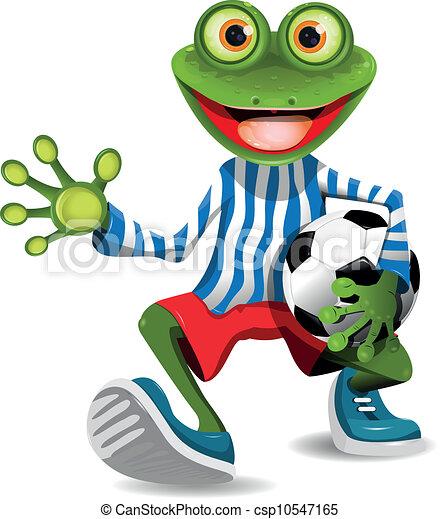 Vector - frog football player - stock illustration, royalty free ...