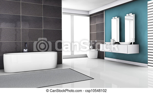 interno, disegno, moderno, contemporaneo, bagno, granito, tegole ...