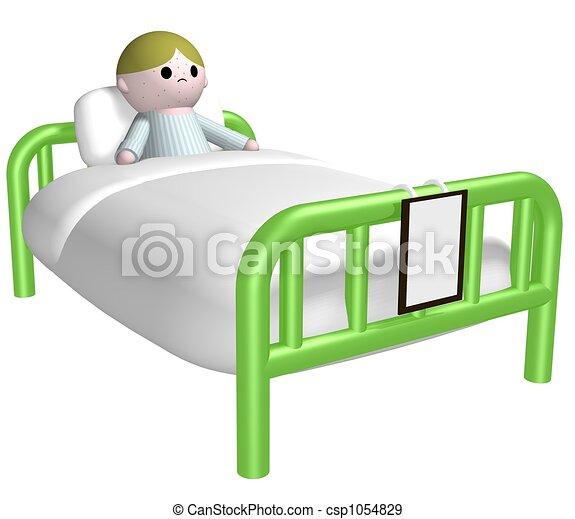 Sick child in bed - csp1054829