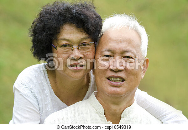 Asian Senior Couple at outdoor park - csp10549319