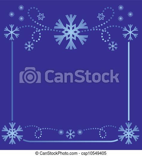 vector snowflakes frame light blue on dark background simmetric illustration - csp10549405