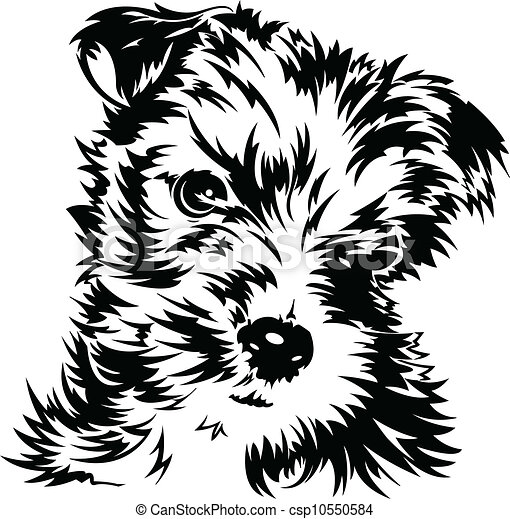 Black and white dog drawing - photo#52