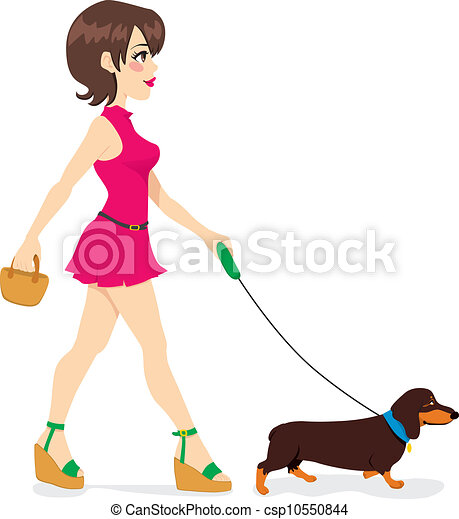Eps Vector Of Woman Walking Dachshund Beautiful Sexy
