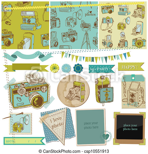Scrapbook Design Elements - Vintage Photo Camera Scrap -  in vector - csp10551913
