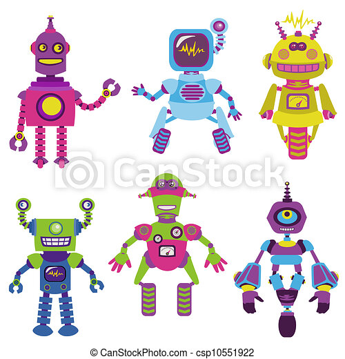 Cute little Robots Collection - for your design or scrapbook - in vector - csp10551922