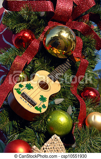 Stock Photos of Christmas Hawaiian Style - Ukelele hangs in the ...