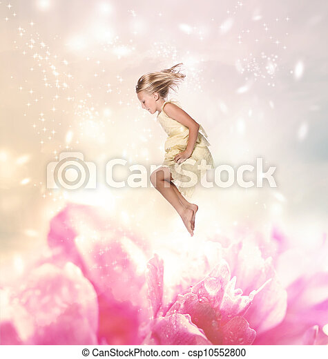 Blond Girl Jumping (Fantasy) - csp10552800