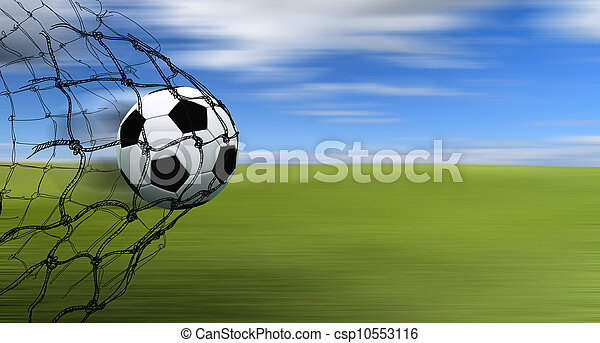 soccer ball in a net with hand drawn sketch on blur background