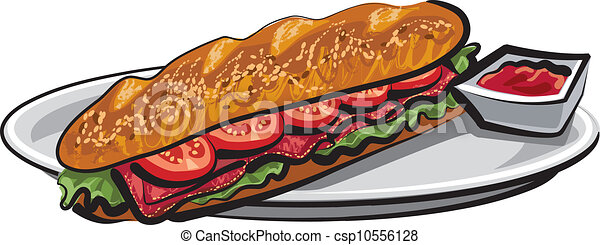 French Baguette Drawing Sandwich French Baguette