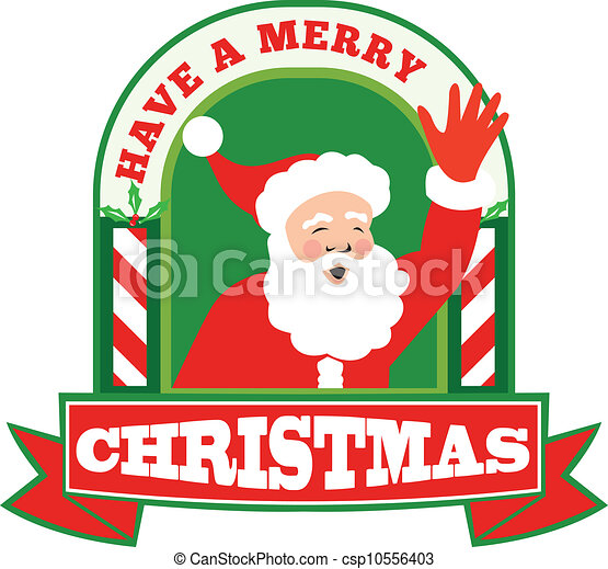Vector Clipart of Santa Claus Father Christmas Retro - Retro style ...