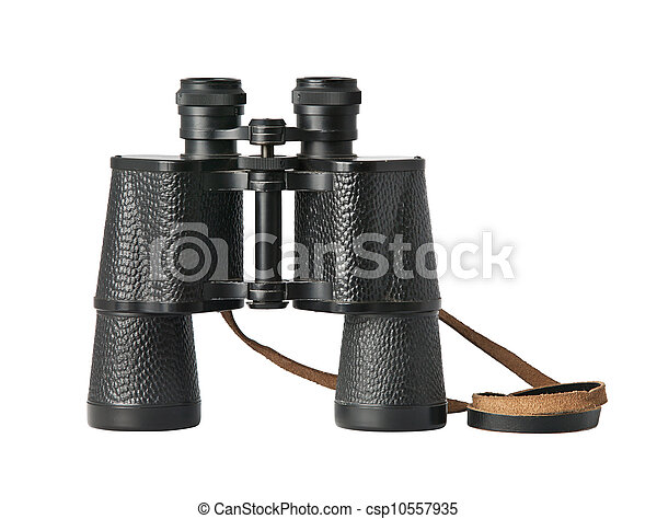 Black old military binoculars isolated on white - csp10557935