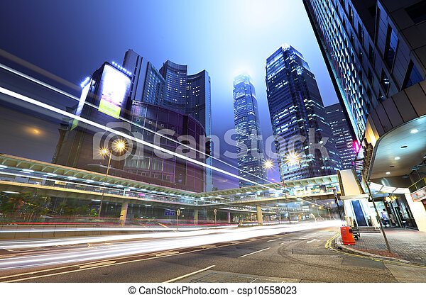 traffic in city at night - csp10558023
