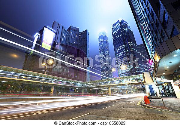 cidade, tráfego, noturna - csp10558023