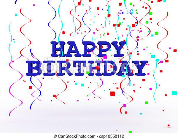 3D Happy Birthday Text - csp10558112