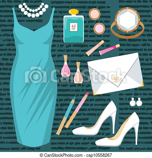 Fashion set with a cocktail dress - csp10558267