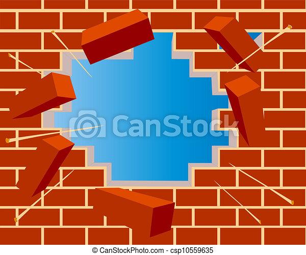 vecteurs de mur cass brique ciel trou illustration cass mur csp10559635. Black Bedroom Furniture Sets. Home Design Ideas