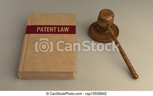 Gavel and patent law book - csp10559842