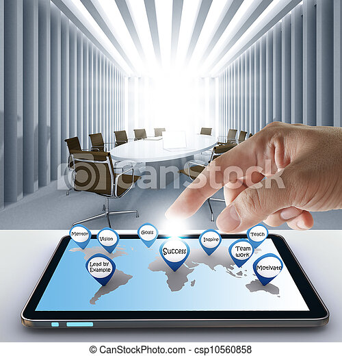 hand point business success icon with tablet computer - csp10560858