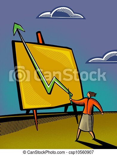 A businesswoman pointing to a sales chart - csp10560907