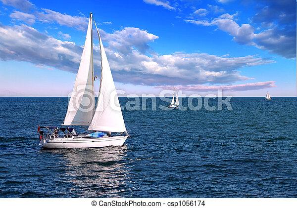 Sailboats at sea - csp1056174