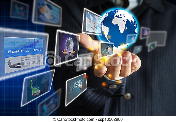 hand holding world of business collection - csp10562900