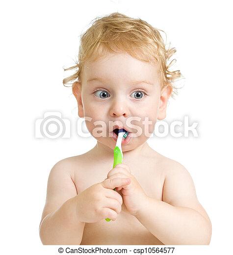 child brushing teeth isolated on white - csp10564577