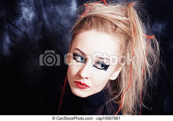 image de clair femme gothique jeune maquillage portrait de csp10567661 recherchez. Black Bedroom Furniture Sets. Home Design Ideas