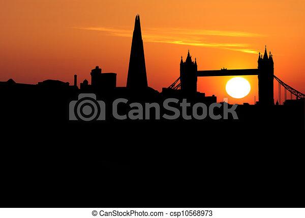 London skyline at sunset illustration - csp10568973