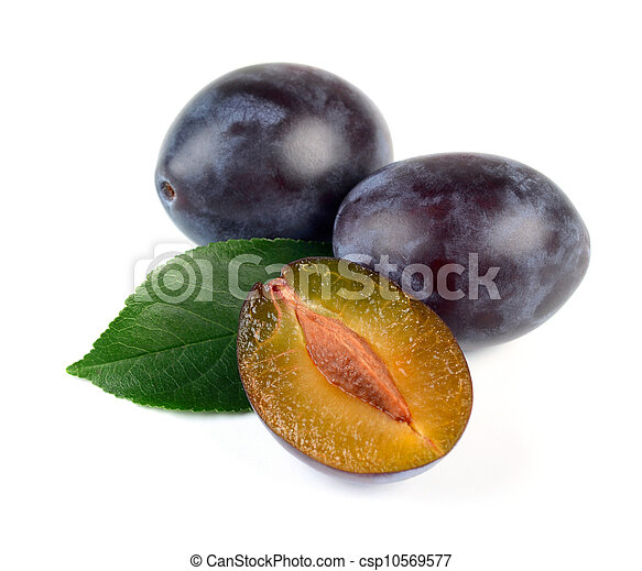 Fresh Plum  Fruits with Green Leaf - csp10569577
