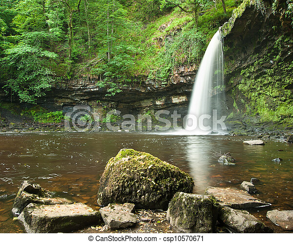 Beautiful woodland stream and waterfall in Summer - csp10570671