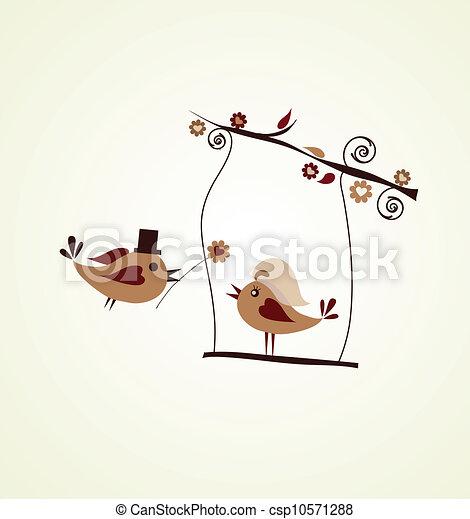 Wedding card; groom bird giving a flower - csp10571288