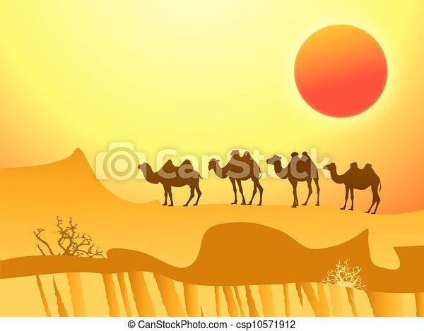Vector Clip Art de camellos, desierto - camello, caravana ...