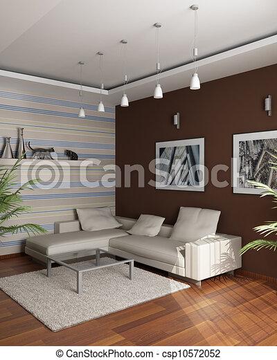 Stock illustraties van bruine kamer muur sofa vertolking afbeeldingen csp10572052 - Upgrade naar een kamer ...