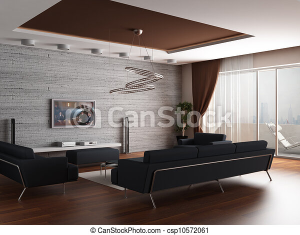 Illustration de 3d rendre int rieur moderne dessin for Dessin sur mur interieur