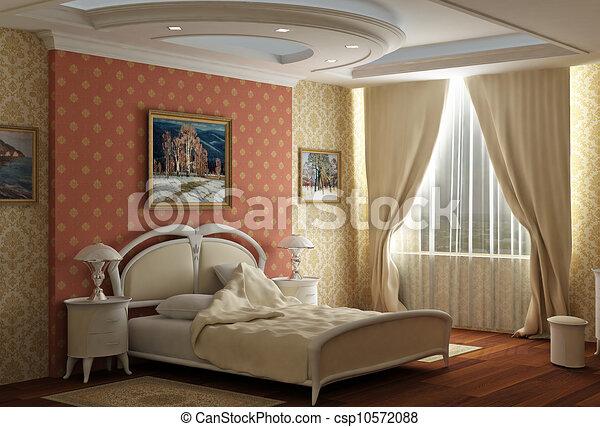 Archivio illustrazioni di stile classico grande camera for Camera letto 3d