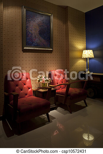 red sofa in living room with down l