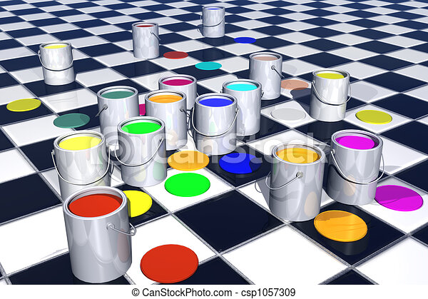 Gallon of paint with choice of color. 3D - csp1057309