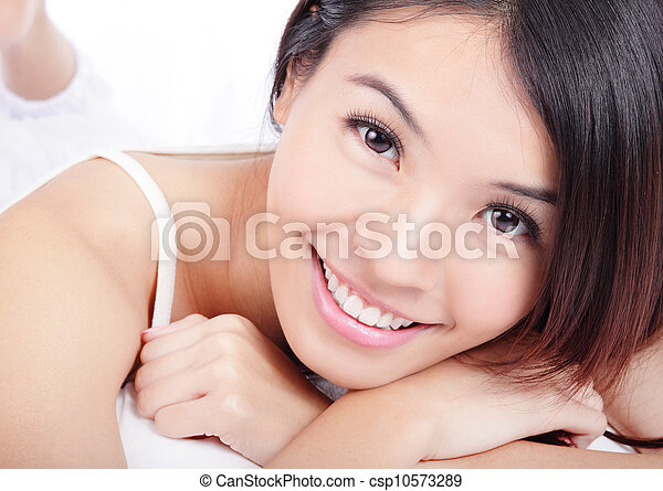 woman smiling face with health teeth - csp10573289