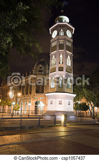 clock tower night guayaquil ecuador - csp1057437