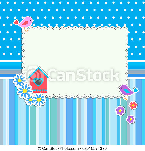 Frame with flowers and birds - csp10574370