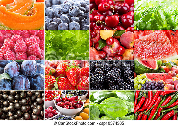 various fruits, berries, herbs and vegetables - csp10574385