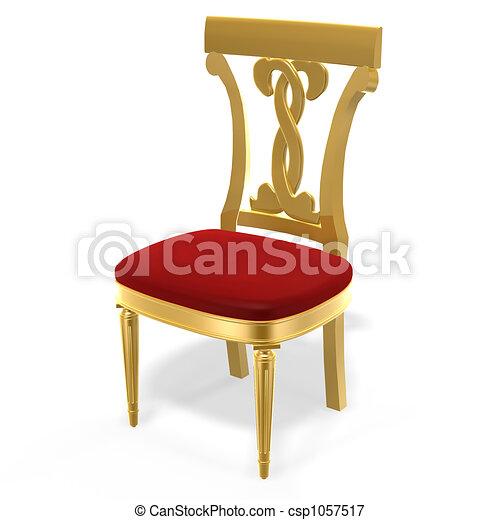Stock illustrations of golden royal chair 3d golden for Chaise 3d dessin