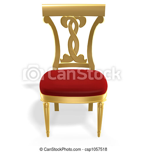 Stock illustration of golden royal chair 3d golden for Chaise 3d dessin