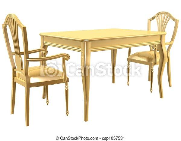 Stühle clipart  Clipart von stühle, goldenes, tisch - goldenes, stühle, und, tisch ...