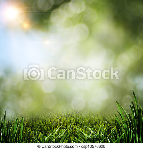 Abstract summer backgrounds with green grass and sun beam - csp10576628