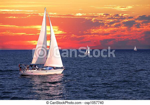 Sailboats at sunset - csp1057740
